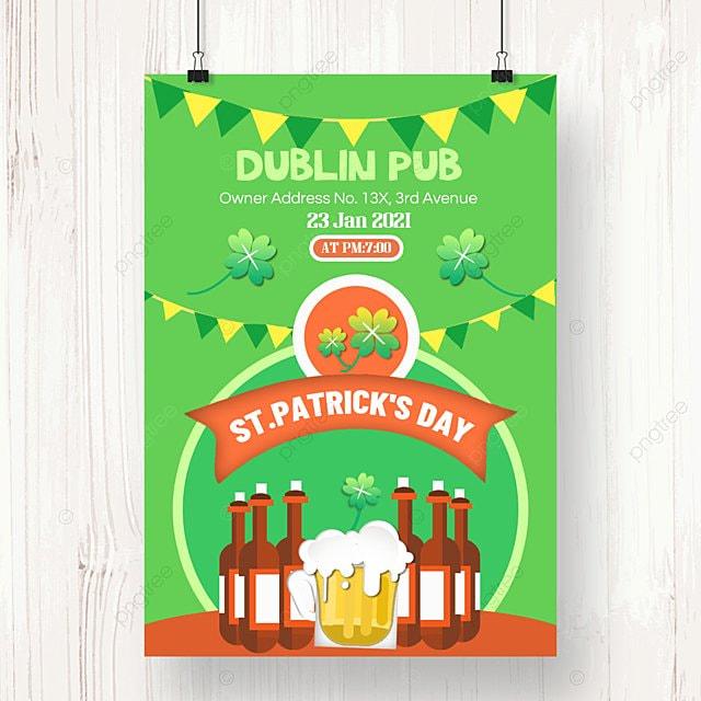 st patricks day beer poster celebration with wine red wine bottle goblet