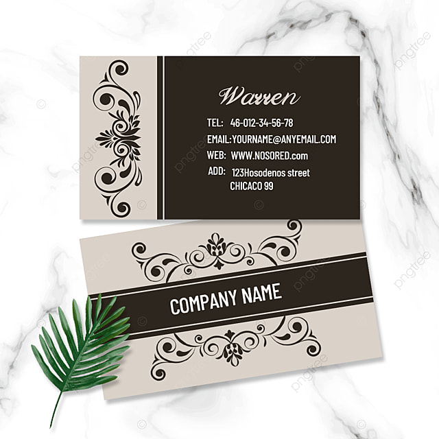 vintage brown pattern double sided business card
