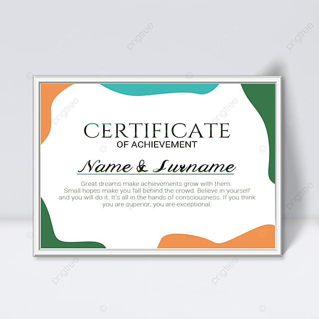 white minimalist abstract geometric colorful certificate template