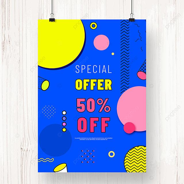 blue memphis creative geometric promotion poster