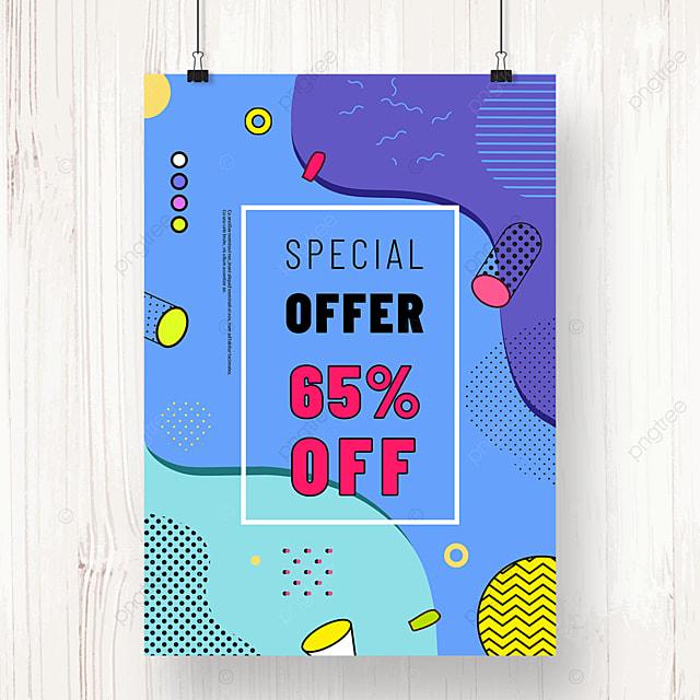 blue memphis geometric line promotion poster