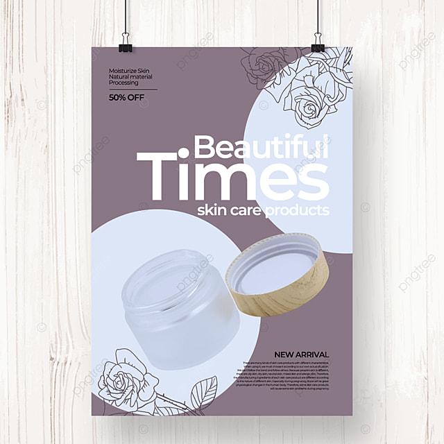 dark natural color line draft floral skin care poster template