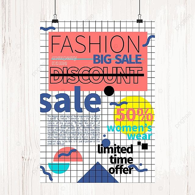 memphis color promotion poster template