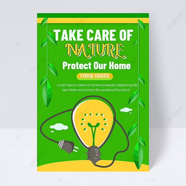 save energy and protect the earth public welfare flyer green glowing light ball