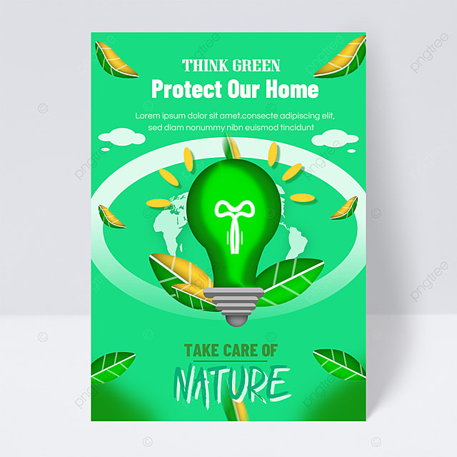 save energy protect the earth public welfare flyer green energy saving lamp ball