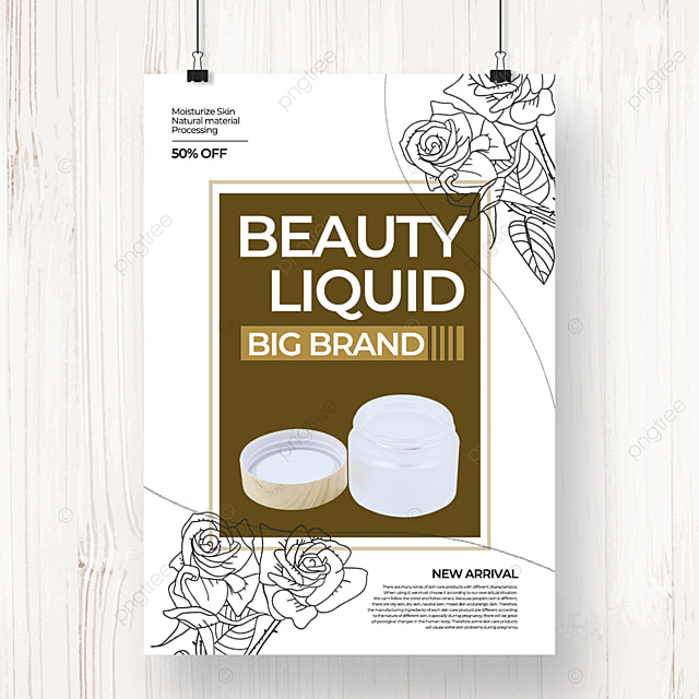 white simple natural color linear draft flower and skin care poster template