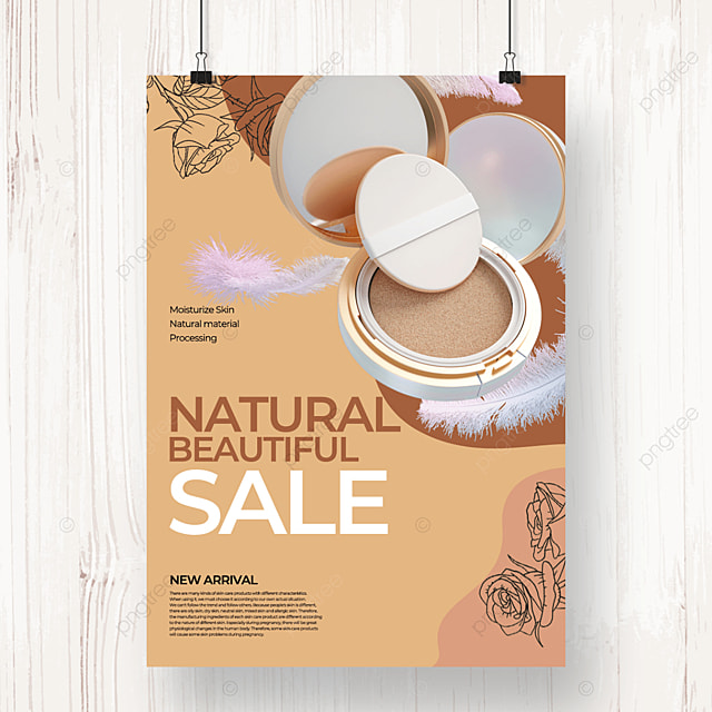 yellow style natural color linear draft flower skin care poster template