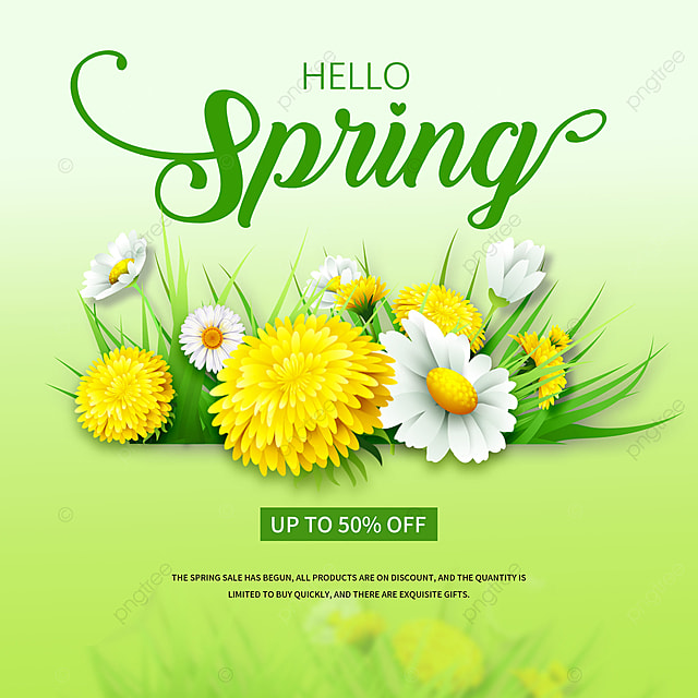 green gradient spring merchandise event promotion template