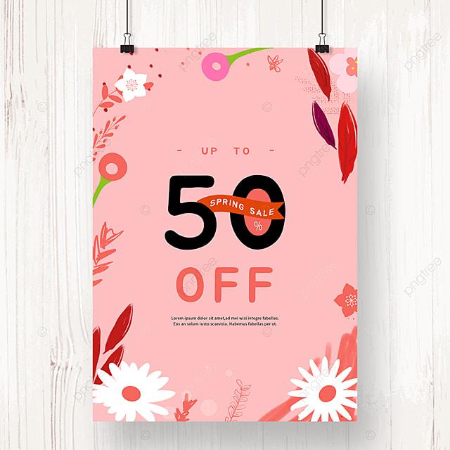 pink flower border spring promotion poster