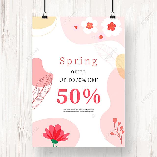 pink flower geometric color block spring promotion poster