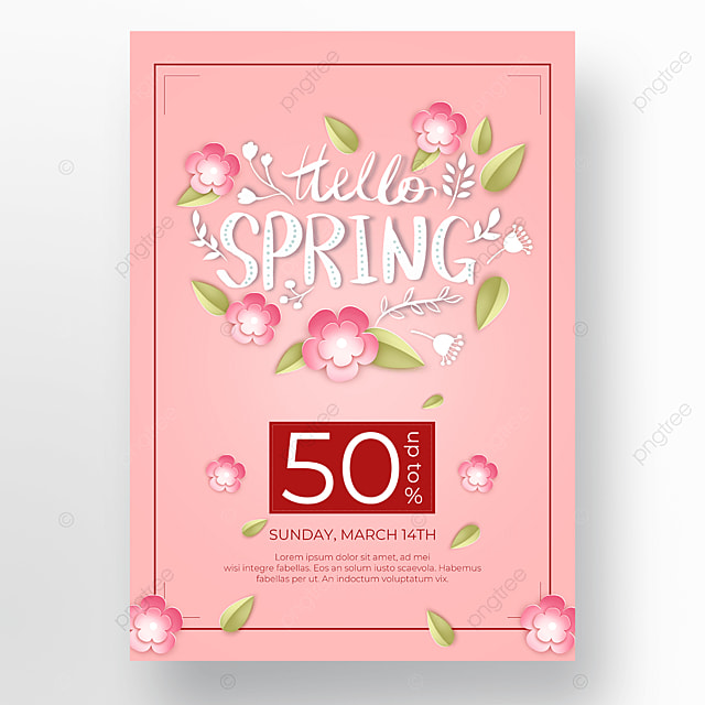 pink flowers and leaves poster