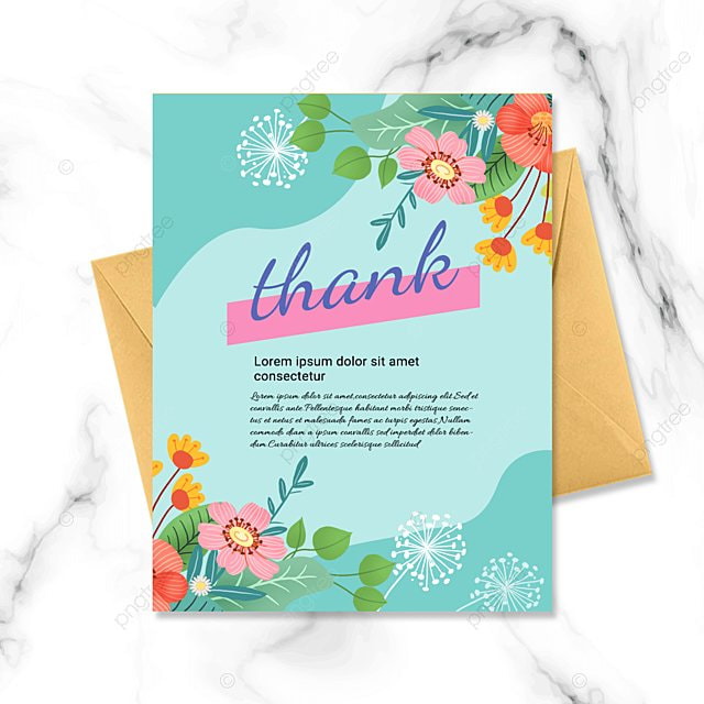 green simple flower plant thank you greeting card