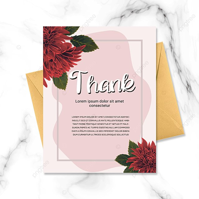 pink simple flower plant thank you greeting card