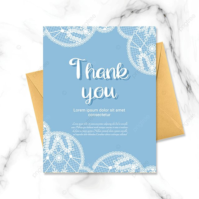 simple blue plant thank you greeting card