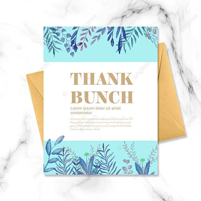 simple blue plant thank you wedding greeting card