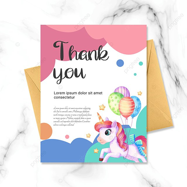 simple colorful cartoon pattern thank you birthday card