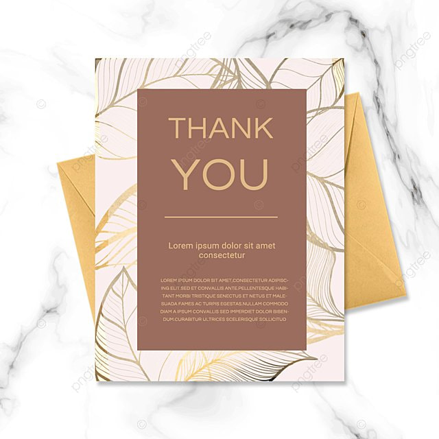 simple pink golden floral plant thank you greeting card
