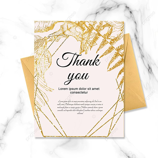 simple pink golden plant thank you greeting card