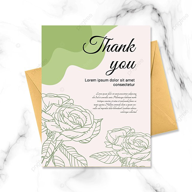 simple pink green plant thank you greeting card