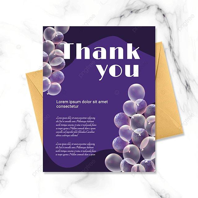 simple purple cartoon pattern thank you birthday card
