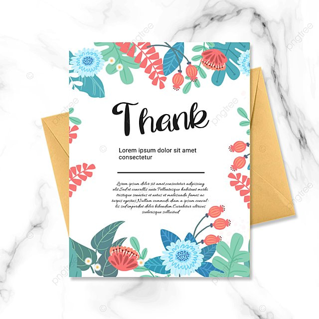white simple flower plant thank you greeting card