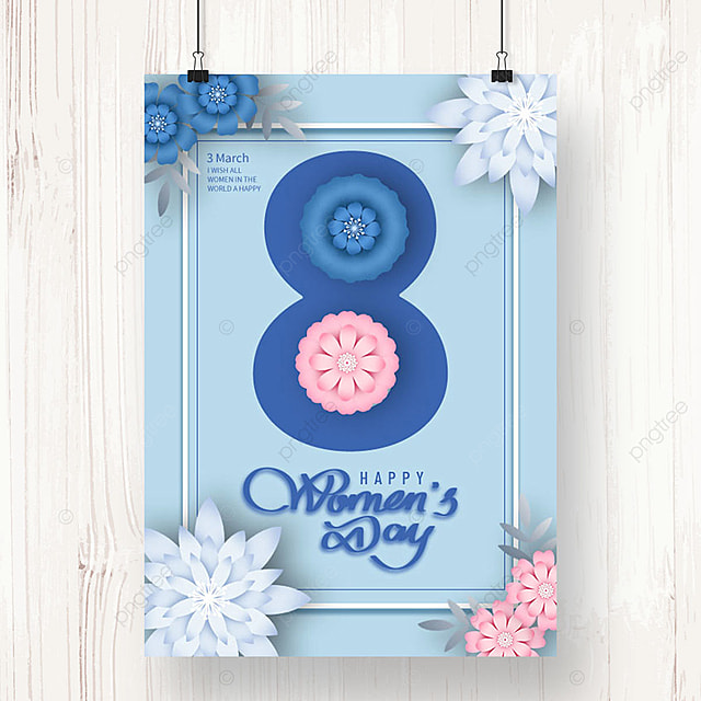 blue womens day blessing sale poster template
