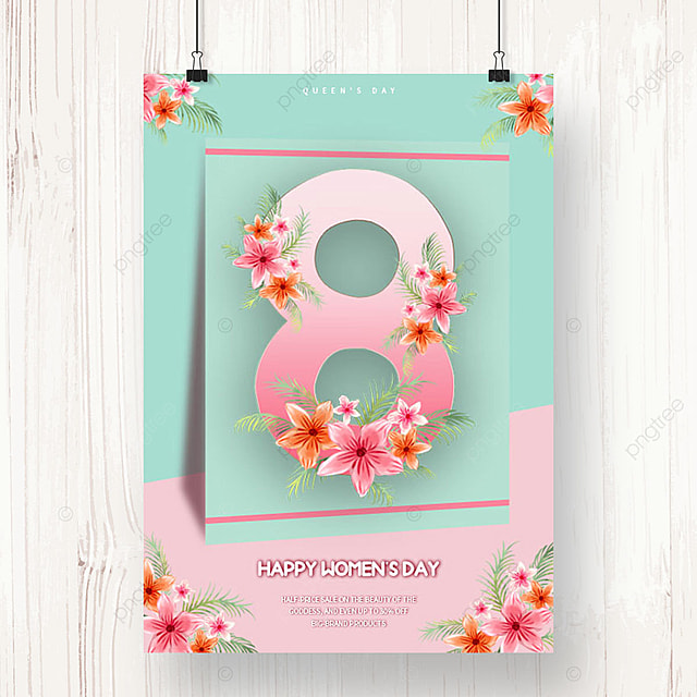 green international womens day promotion poster template