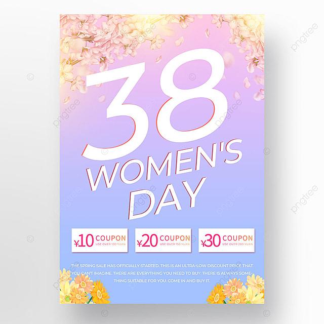 light effect gradient petal womens day template