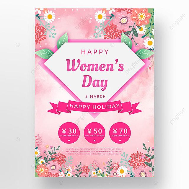 pink ink creative flower petal womens day template