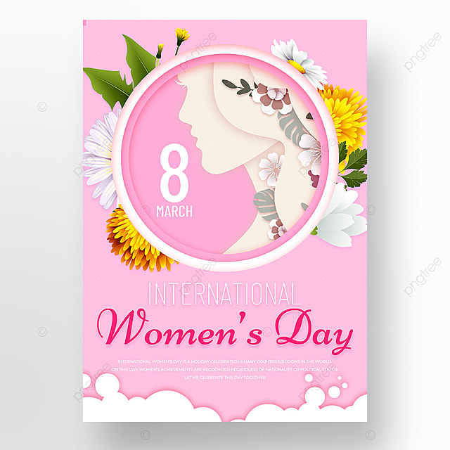 pink petals womens day template