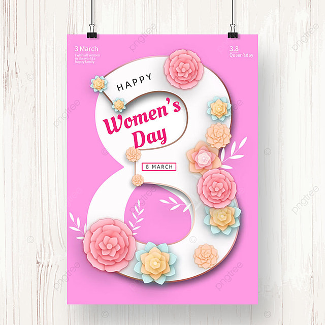 pink womens day blessing poster template