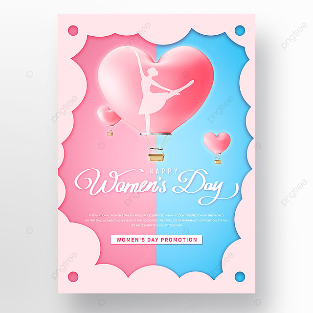 red and blue minimalist womens day template