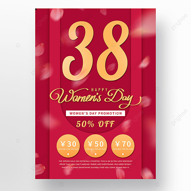 red coupon womens day template