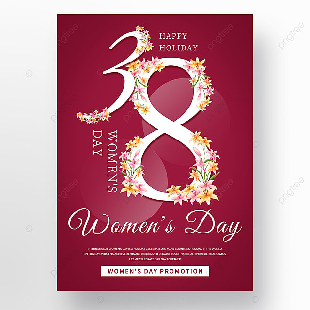 womens day template with three eight petals