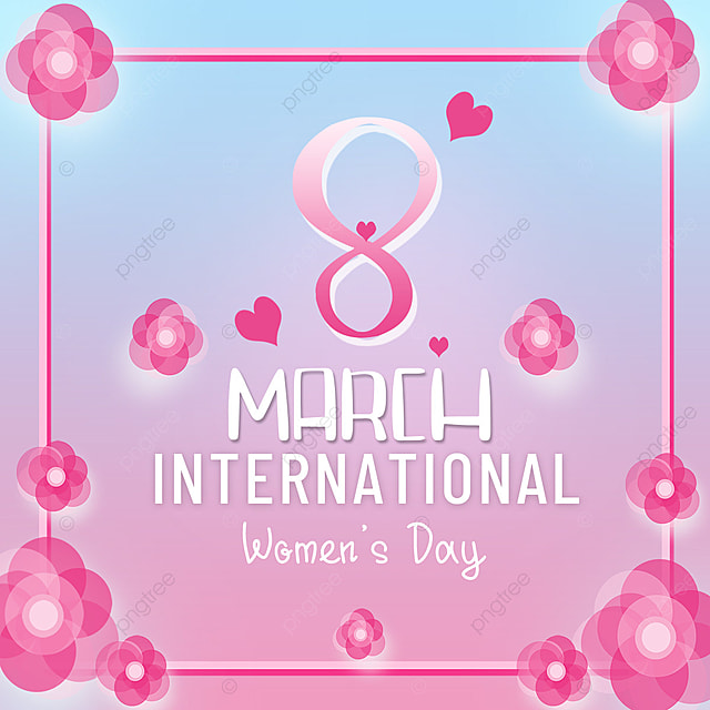 womens day template pink flowers