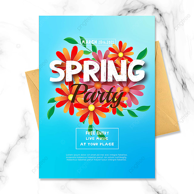 blue gradient background spring party invitation