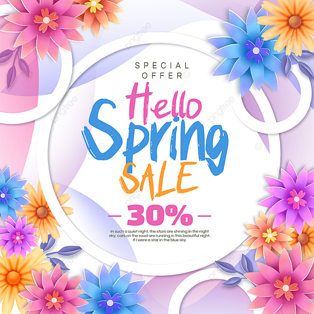 colorful spring discount poster