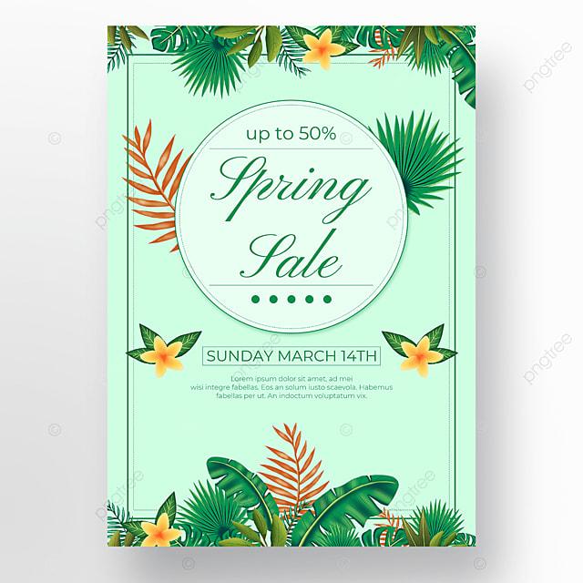 green background floral leaf poster