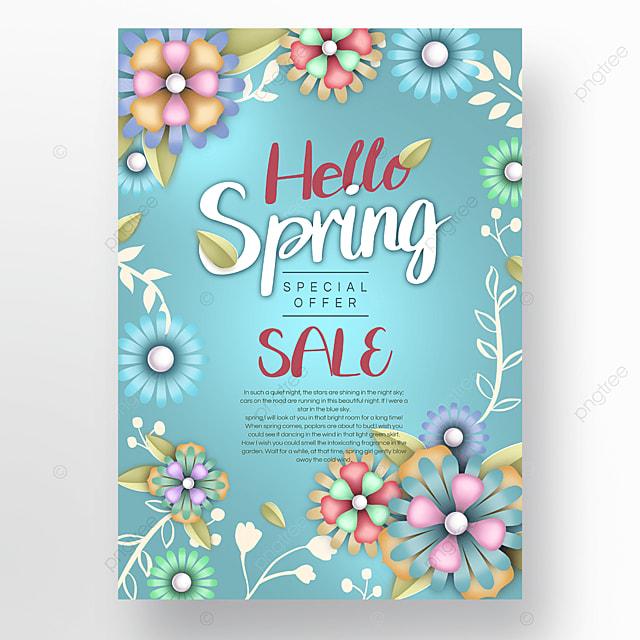 pink blue flowers spring promotion poster