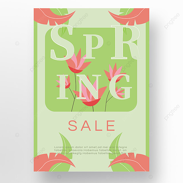pink flowers green spring poster