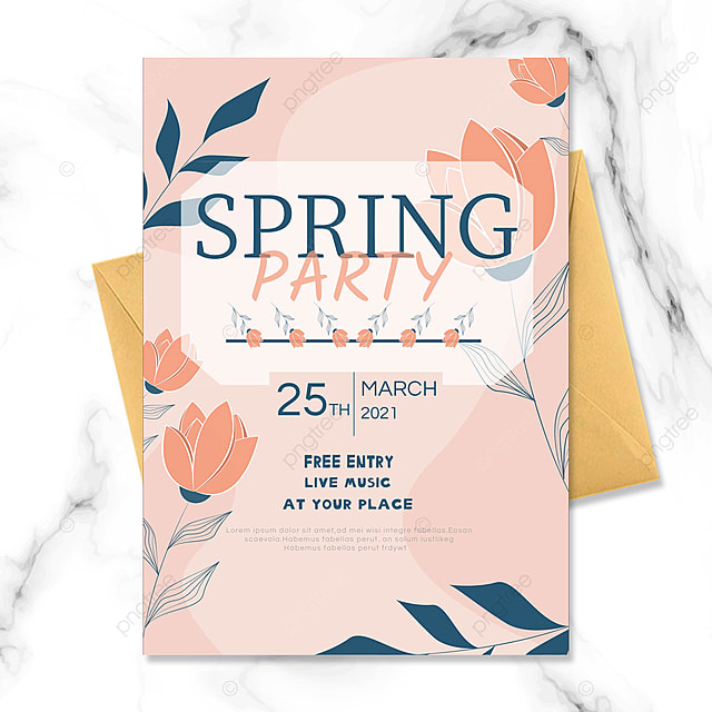 pink flowers spring party invitation