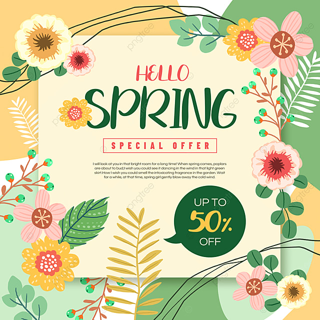 pink green spring promotion advertisement