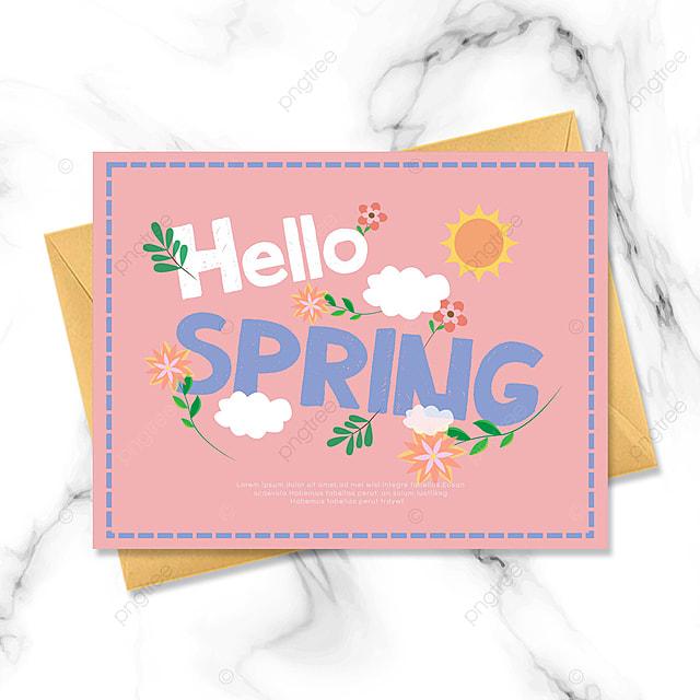 pink hello spring spring greeting card