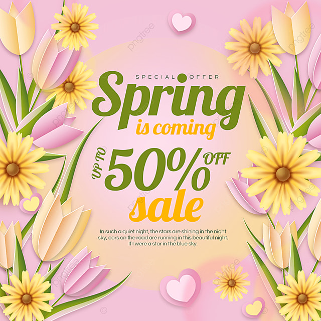 pink spring discount ad