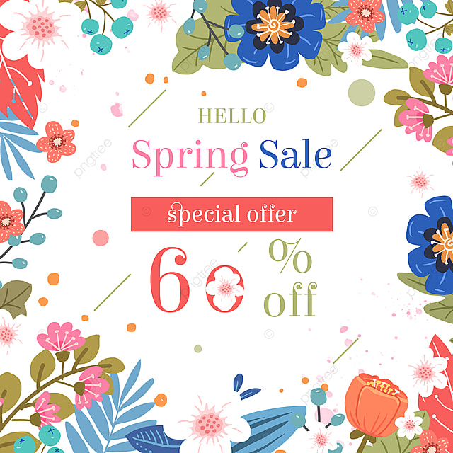 spring flower promotion card template
