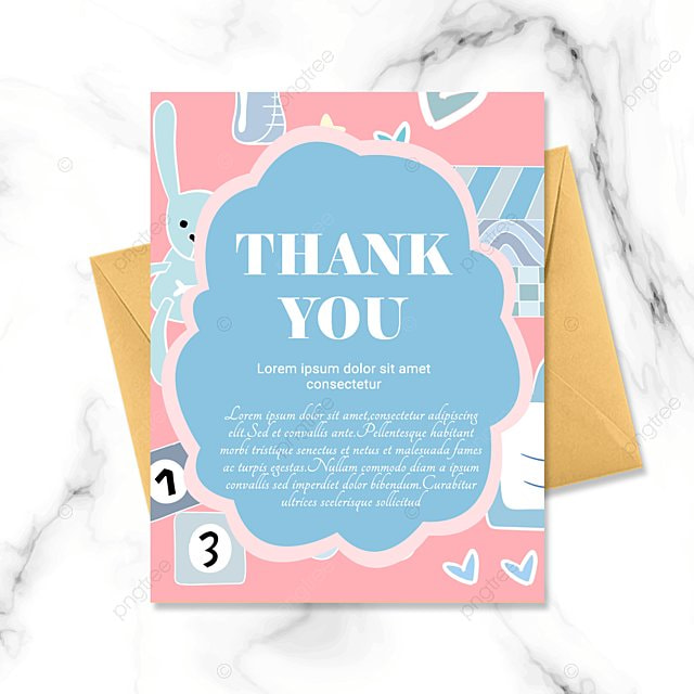blue pink simple cartoon warm baby baptism thank you card
