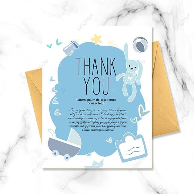 blue simple cartoon warm baby baptism thank you card