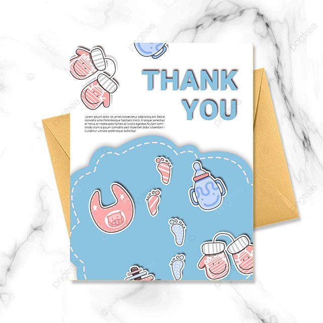 blue white simple cartoon warm baby baptism thank you card