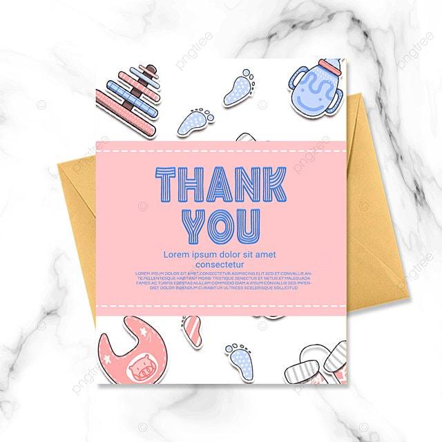 pink simple cartoon warm baby baptism thank you card