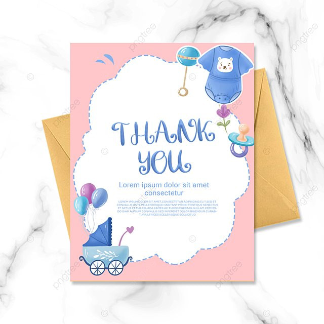 pink white simple cartoon warm baby baptism thank you card